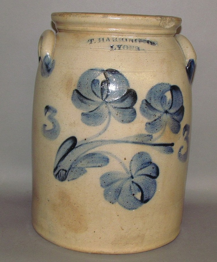3 gallon cobalt decorated stoneware butter churn