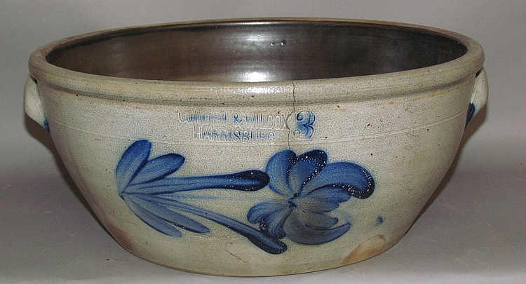 Scarce 3 gallon cobalt decorated Cowden & Wilcox bowl