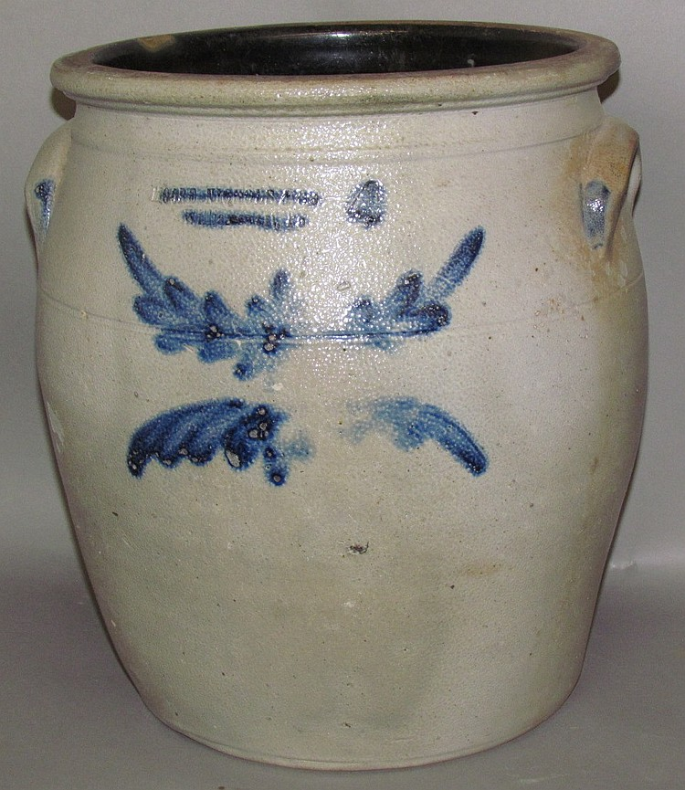 4 gallon cobalt decorated Moore, Nichols & Co crock