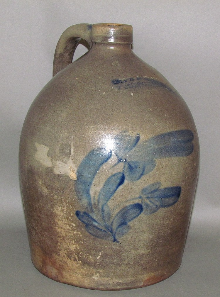 2 gallon cobalt decorated Sipe & Sons jug