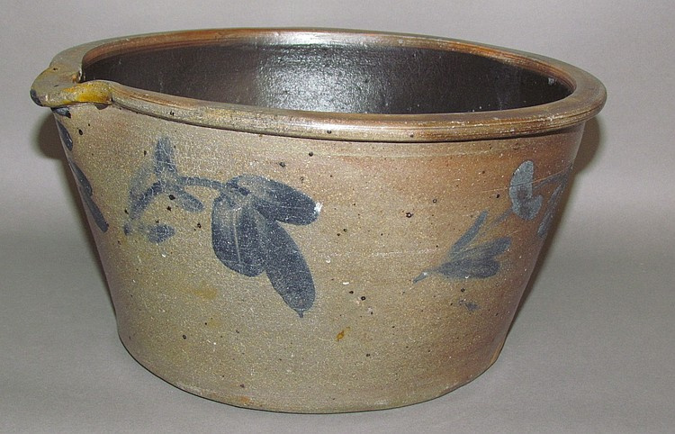 1 1/2 gallon cobalt decorated Mt Jordon Pottery milk pan