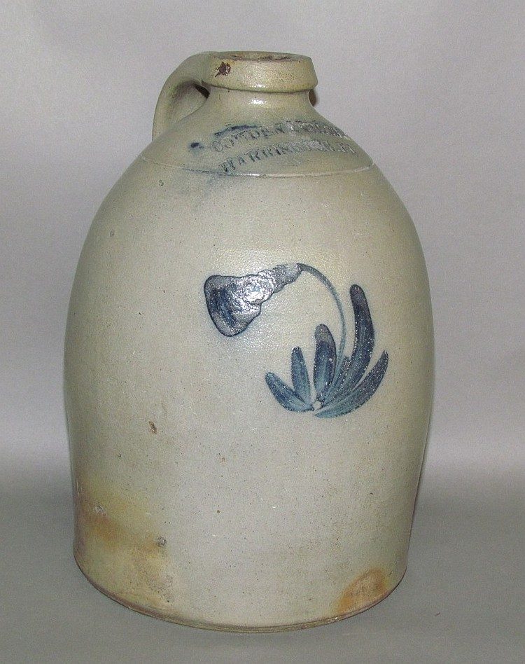 Cobalt decorated Cowden & Wilcox stoneware jug