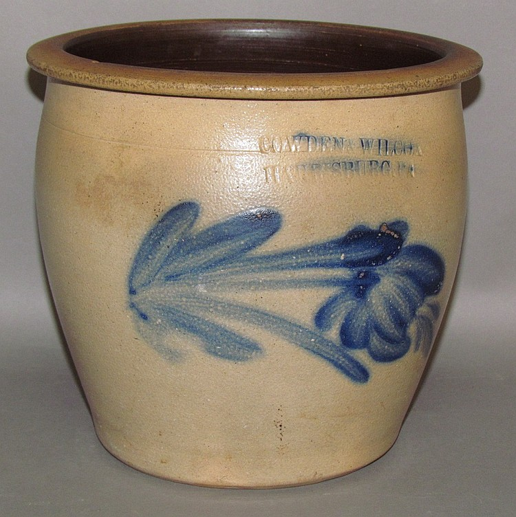 Cobalt decorated Cowen & Wilcox cream crock