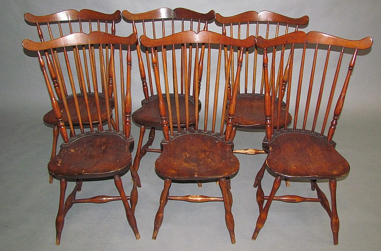 Set of 6 fan back Windsor side chairs