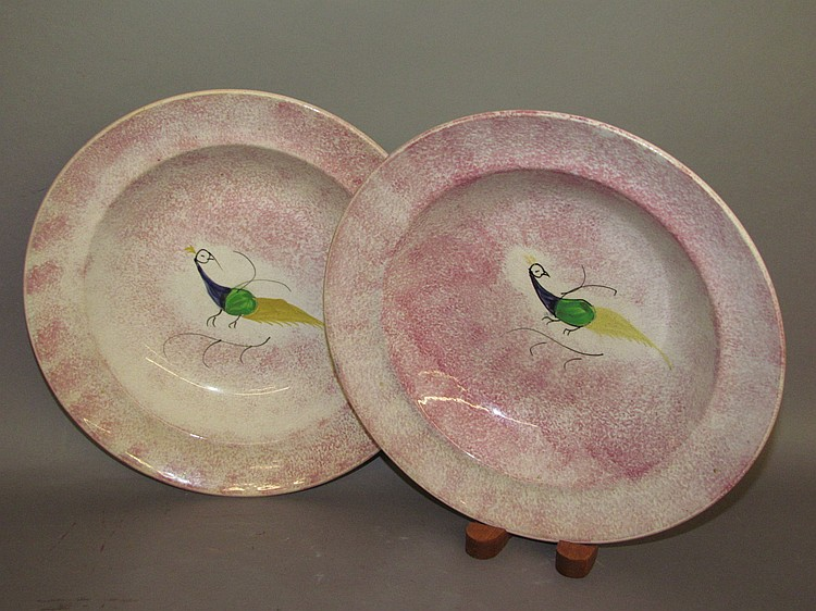2 English Staffordshire earthenware red spatter peafowl deep dishes