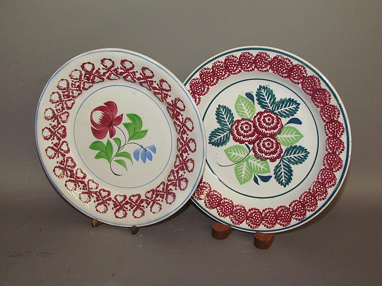 2 English Staffordshire ironstone plates with stick spatter planters