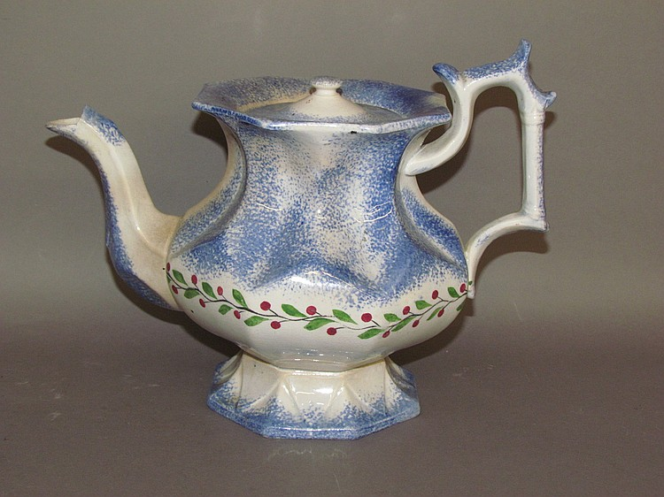 English Staffordshire earthenware blue spatter teapot with berry & leaf wreath