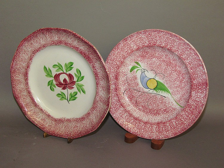 2 English Staffordshire pearlware red spatter plates