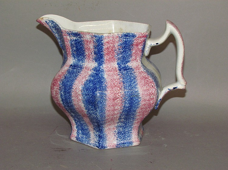Red & blue rainbow spatter pitcher