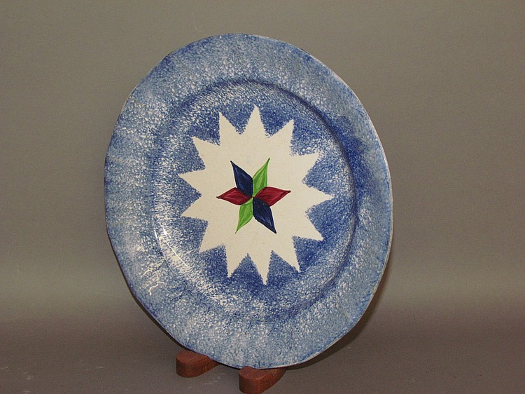 English Staffordshire earthenware star spatter plate