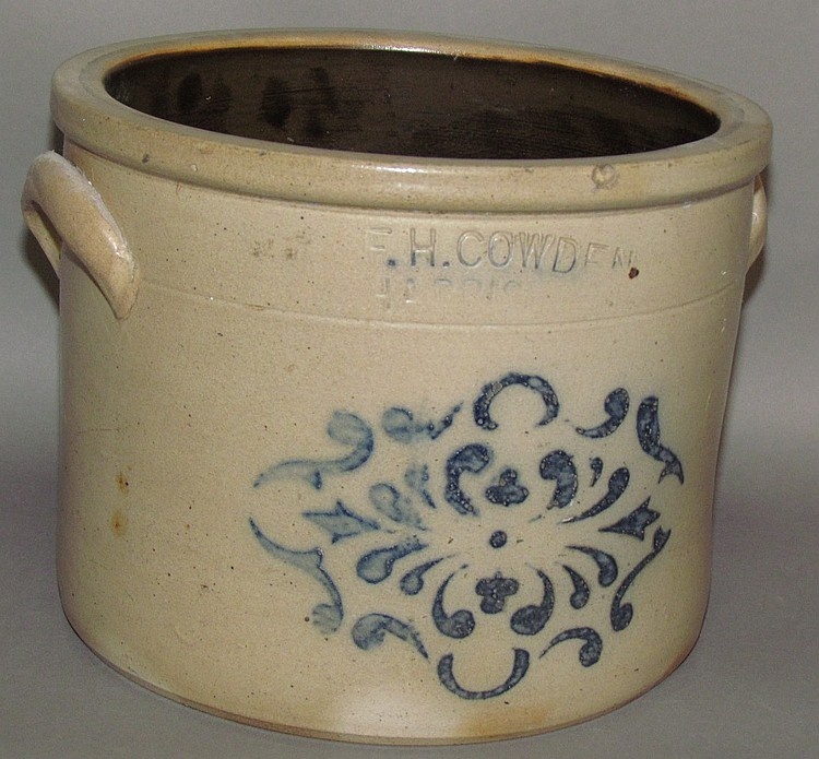 Cobalt decorated F.H. Cowden crock