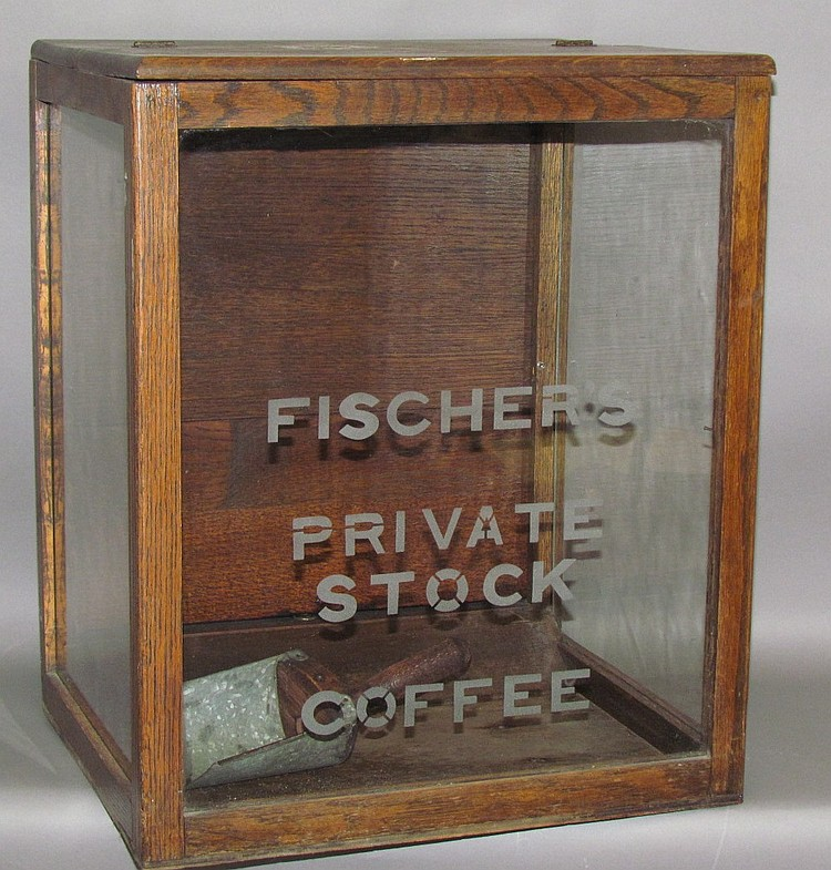 Fischer's Private Stock Coffee oak & glass counter top display