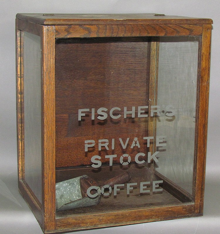 Lot 387: Fischer's Private Stock Coffee oak & glass counter top display