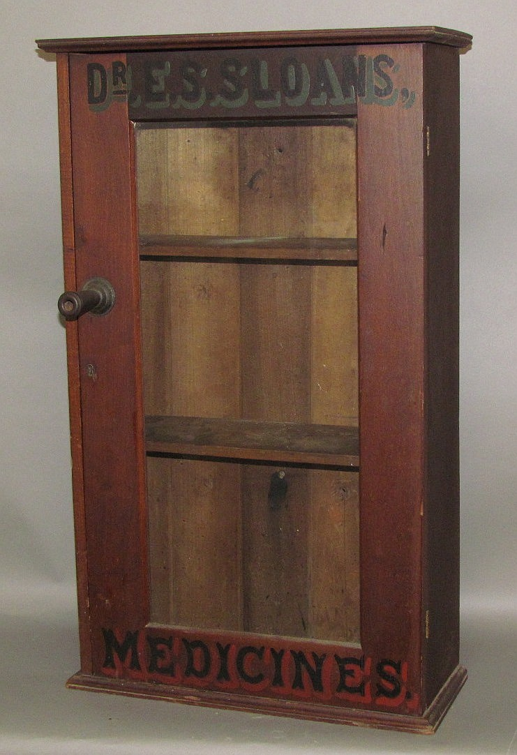 Cherry store trade cabinet for Dr. Sloanes Medicines