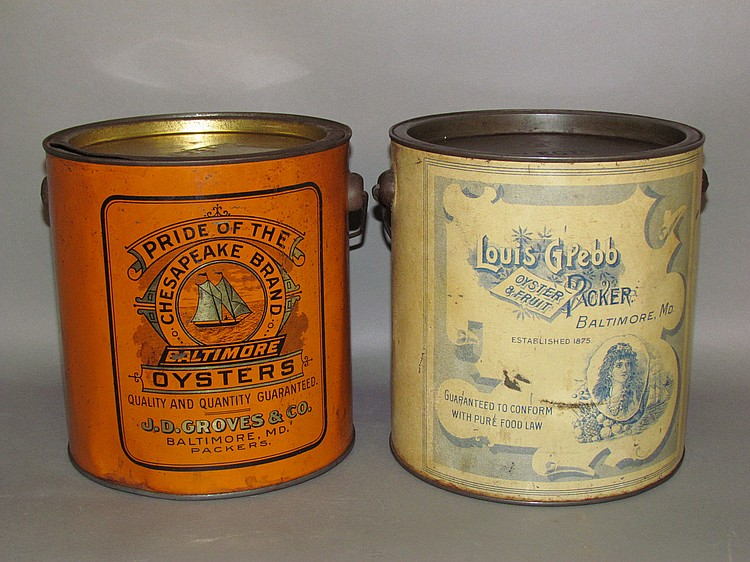 Lot 507: 2 lithographed oyster tins