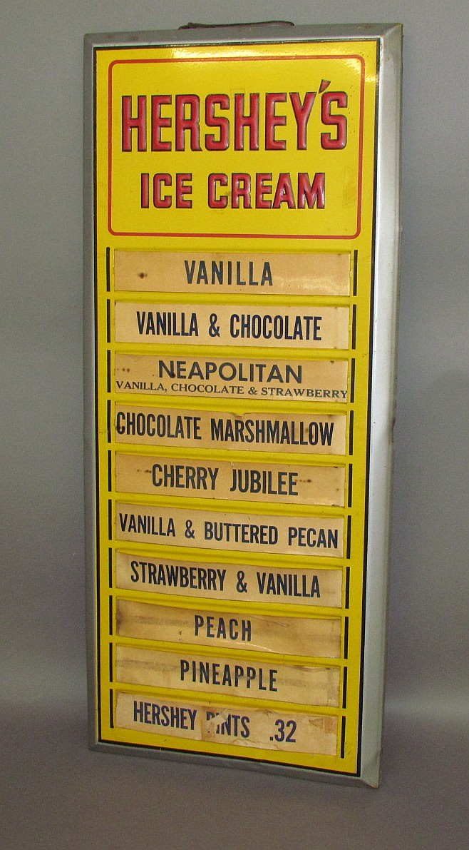 Pressed tin enameled Hershey Ice Cream sign