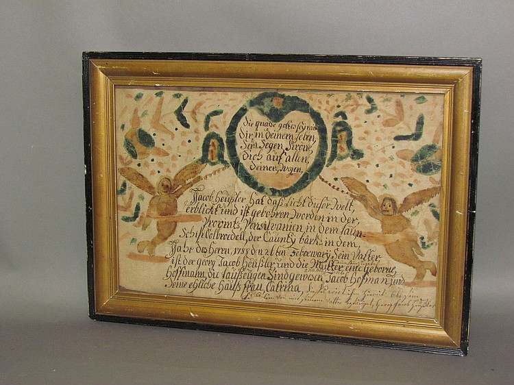 Framed Fraktur birth record of Jacob Heussler (Heisler)