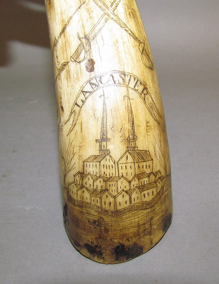 Lot 467: Jacob Hahn engraved powder horn