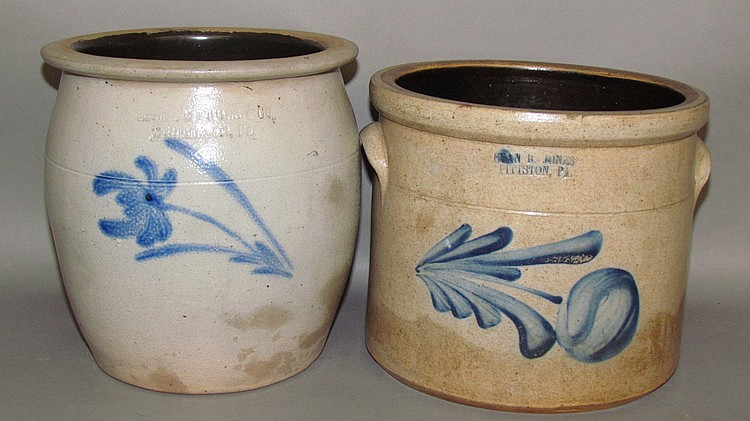 2 PA cobalt decorated stoneware crocks