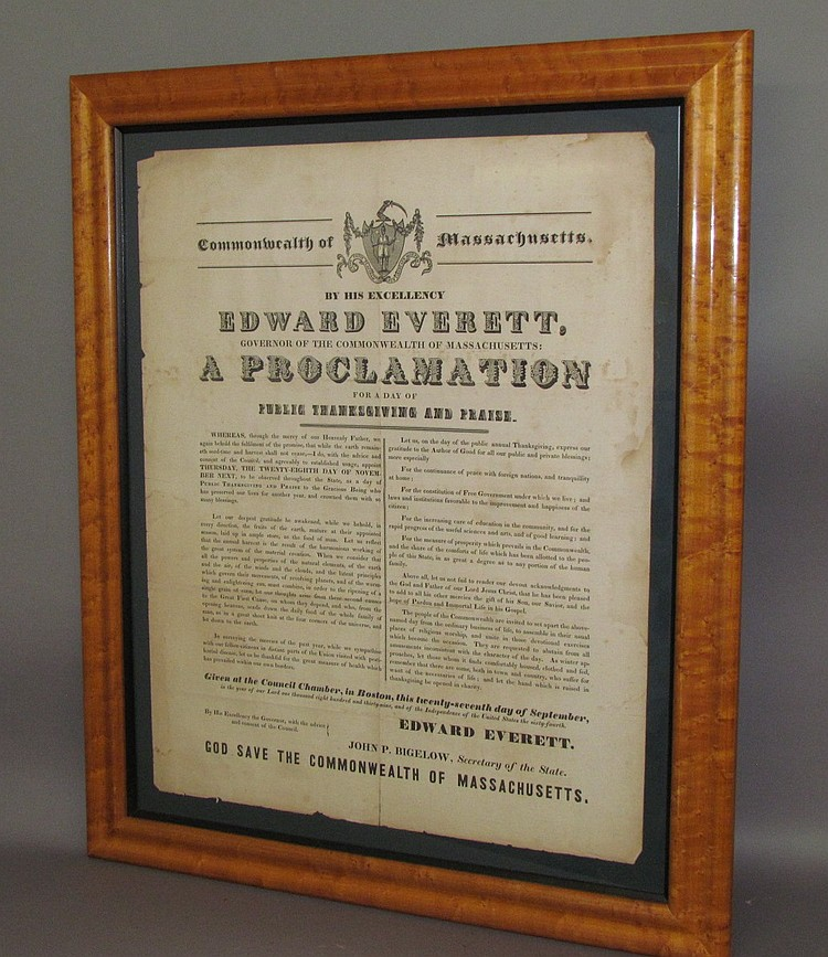 Framed printed Commonwealth of Massachusetts broadside