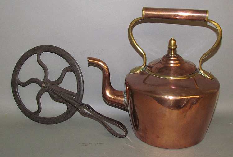 Copper teapot & iron wheel traveler