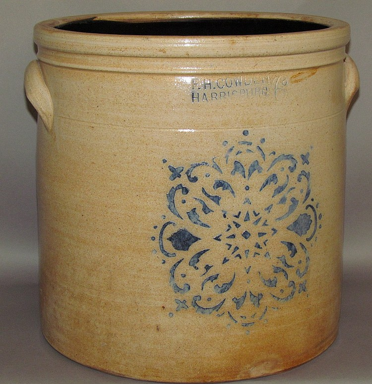 Lot 357: 6 gallon cobalt F.H. Cowden crock