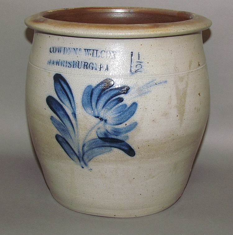 1 1/2 gallon cobalt decorated Cowden & Wilcox crock