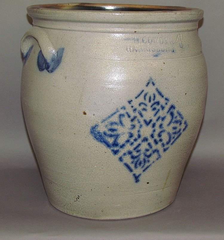 4 gallon cobalt decorated F.H. Cowden crock