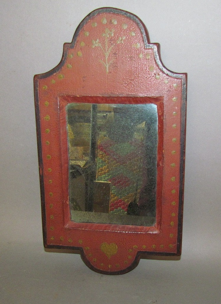 Red painted softwood framed mirror