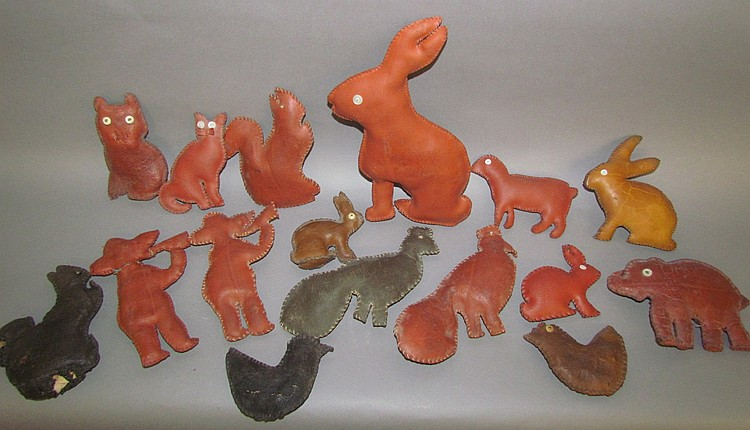 Group of 16 folk art toys