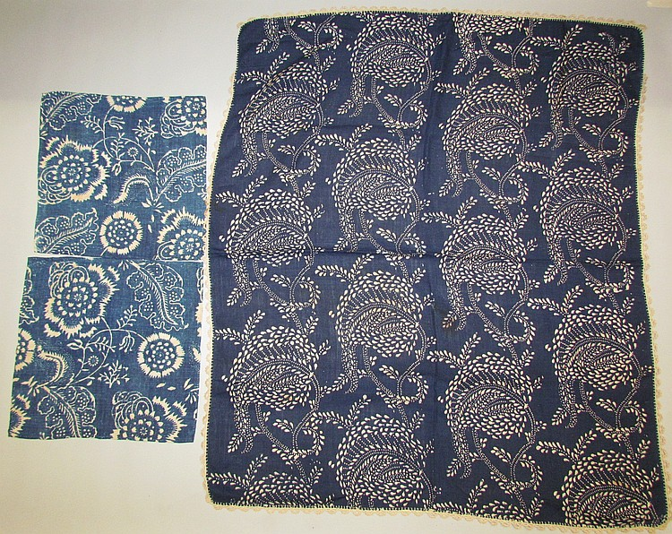 3 pieces of blue resist fabric