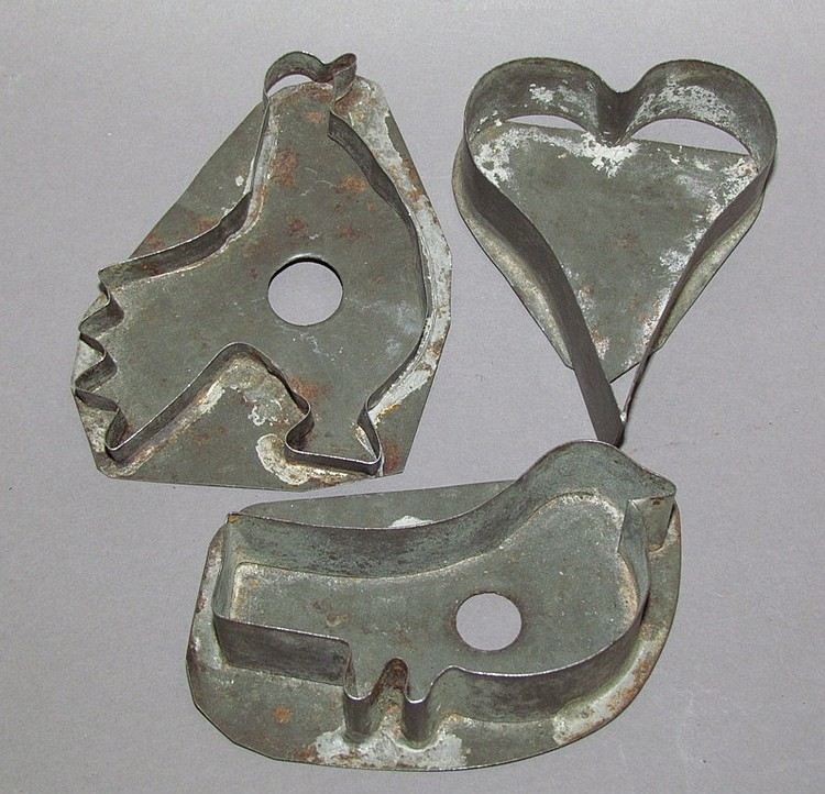 Group of 3 tin cookie cutters