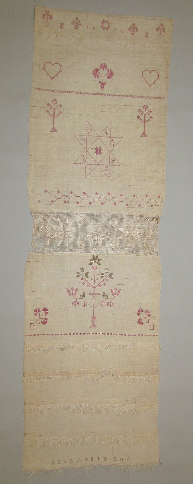 Decorated towel, Elizabeth Zug 1854
