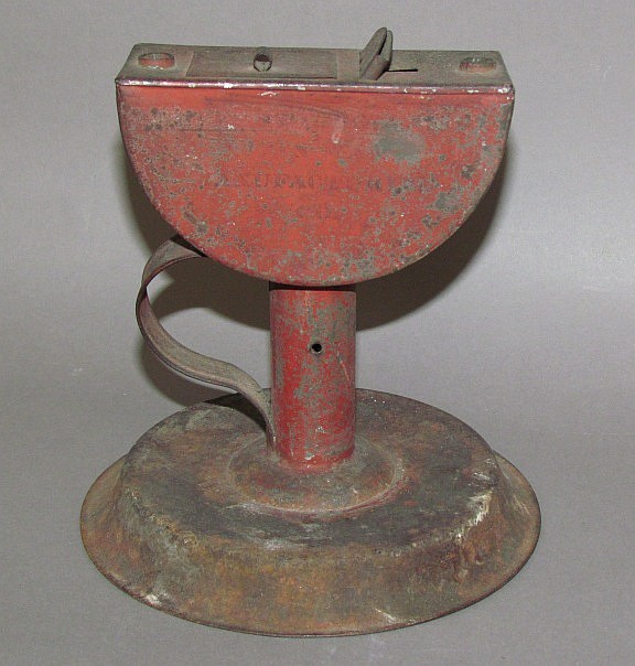 Tin oil lamp, rare marked Z (Zuriel) Swope, Lancaster, PA