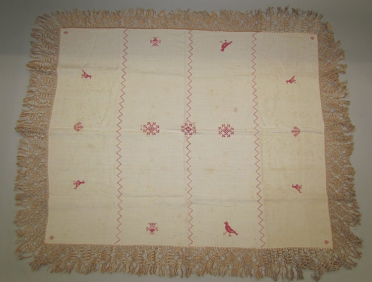 Exceptional PA. German decorated tablecloth