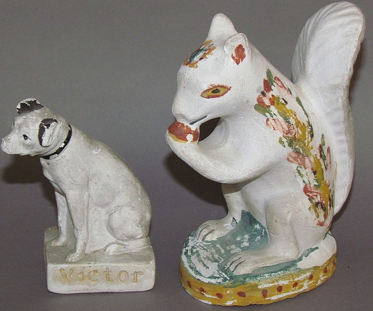 Chalkware advertising dog & chalkware squirrel