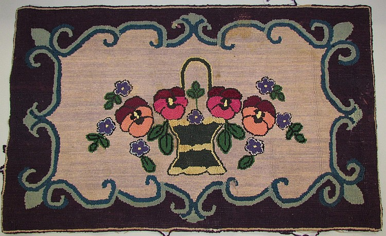 Lancaster County Amish, rectangular hook rug