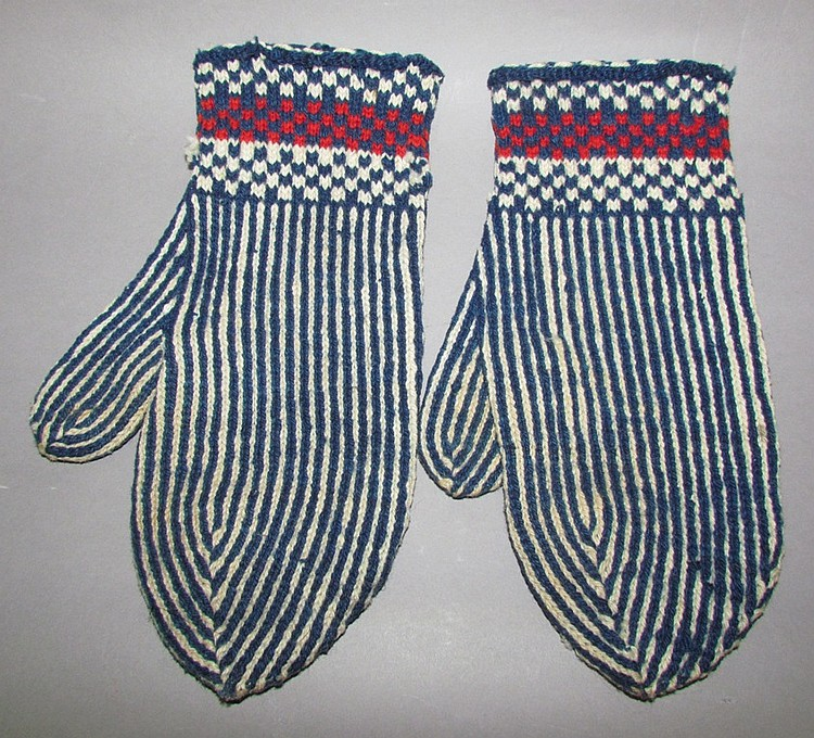 Pair of hand knit mittens