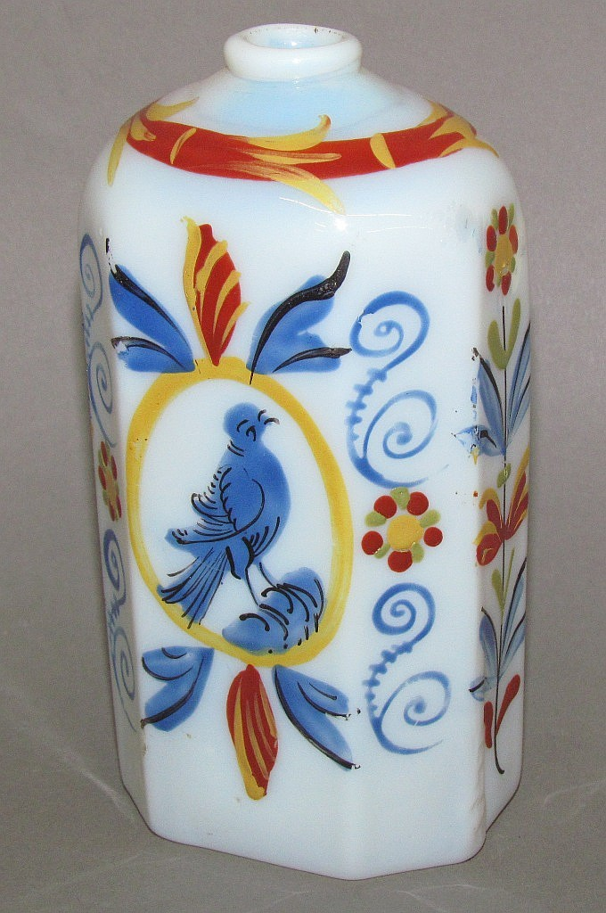 Stiegel enameled drug bottle