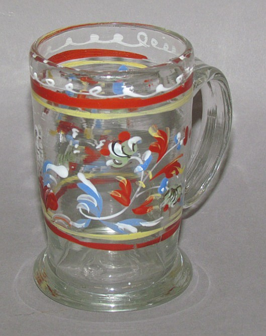 Enamel decorated Stiegel type mug