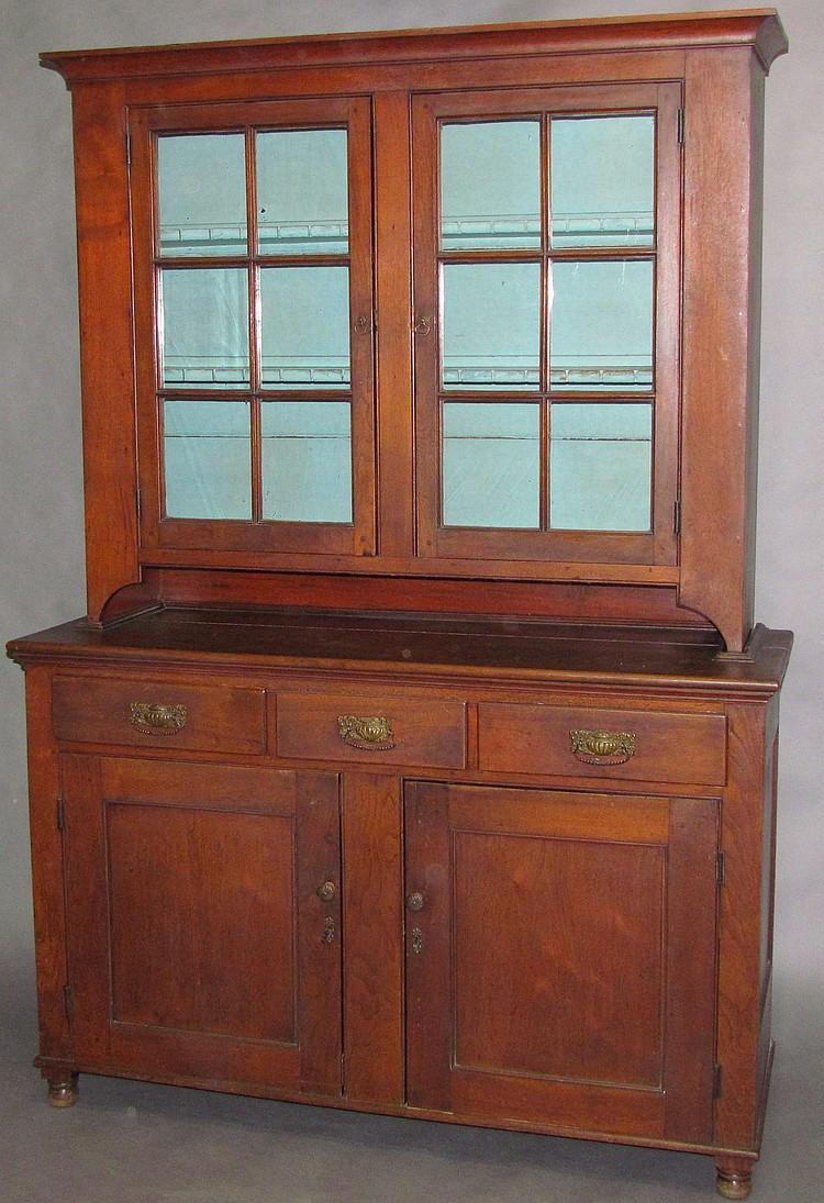 Lancaster County 12-lite walnut Dutch cupboard
