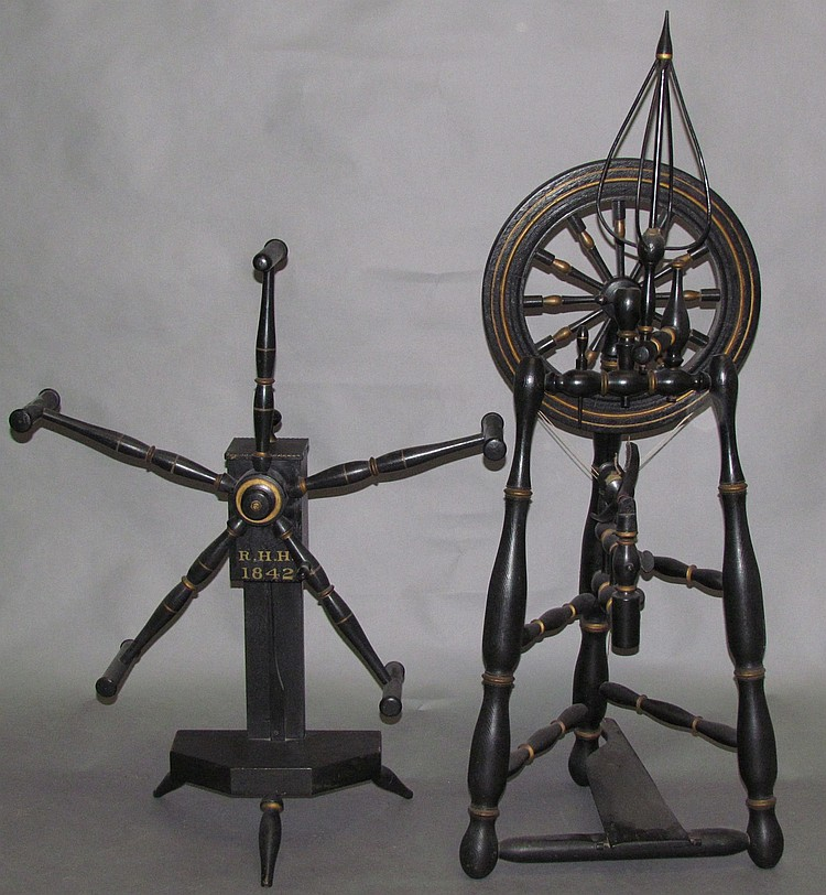 Fine castle wheel & matching yarn winder made by Daniel Danner of Manheim