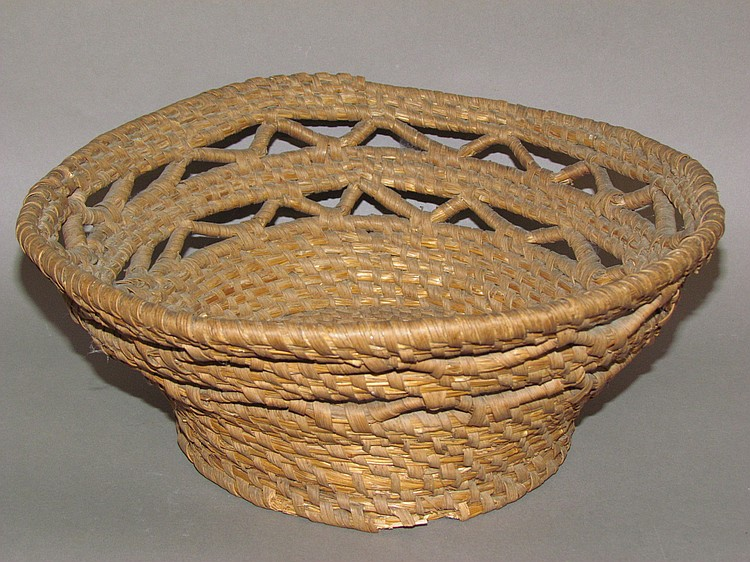 Rye straw sewing basket