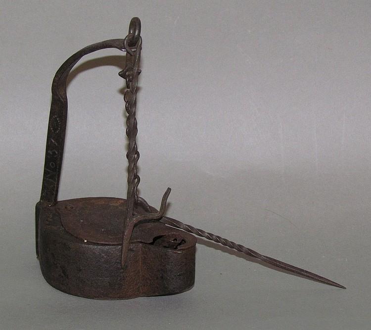 Iron betty lamp