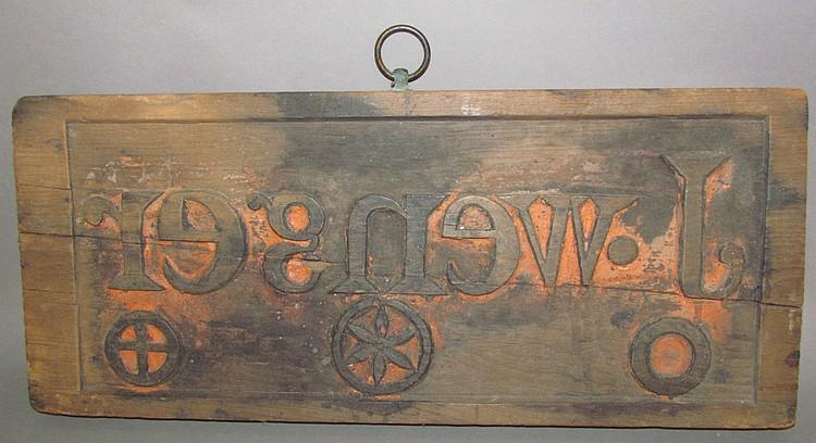 Fine carved wooden bag stamp
