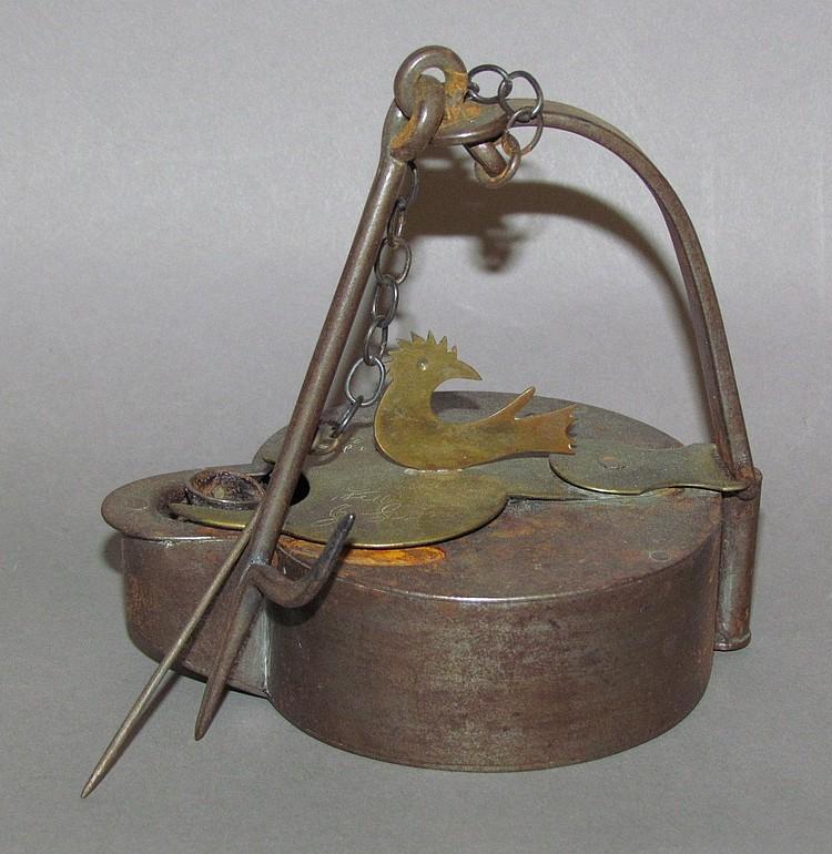 Rare iron Betty lamp