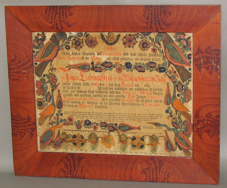 Rare Heinrich Otto Fraktur in a paint decorated frame