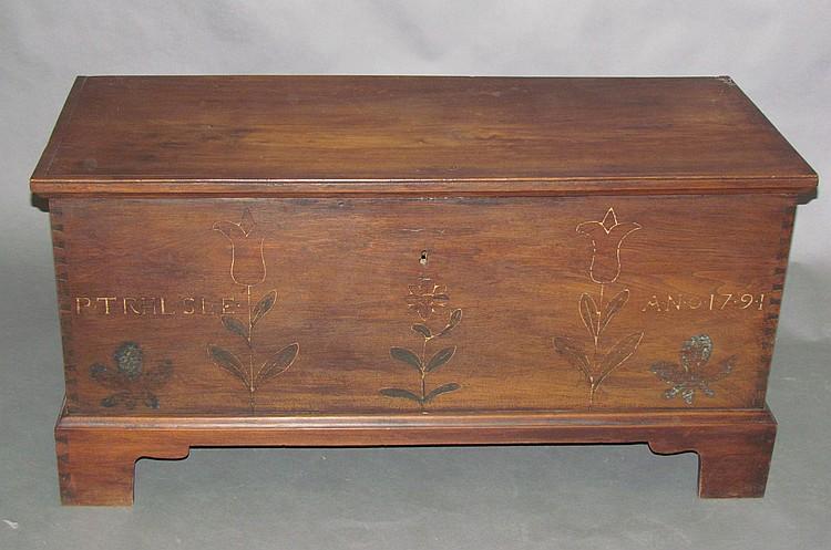 Rare walnut blanket chest w/sulfur inlay bracket base