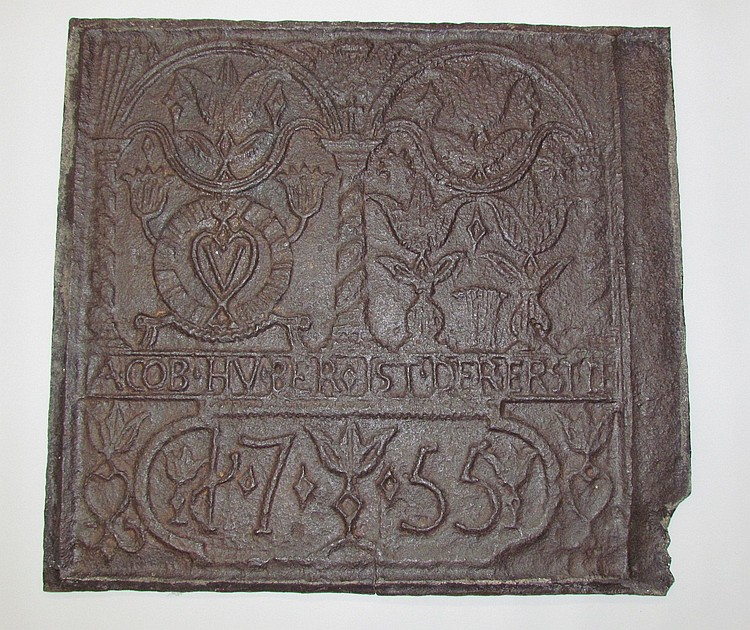 Rare cast iron stove plate dated 1755