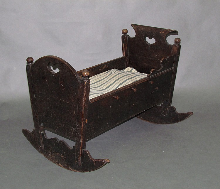 Extremely rare PA German walnut cradle
